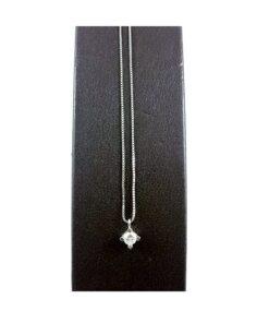 Collana in Oro Bianco con Diamante 0.13 kt
