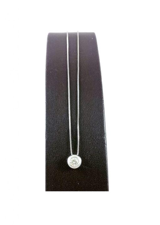 Collana Donna Oro 18kt Con Brillante Accessori Idea Regalo