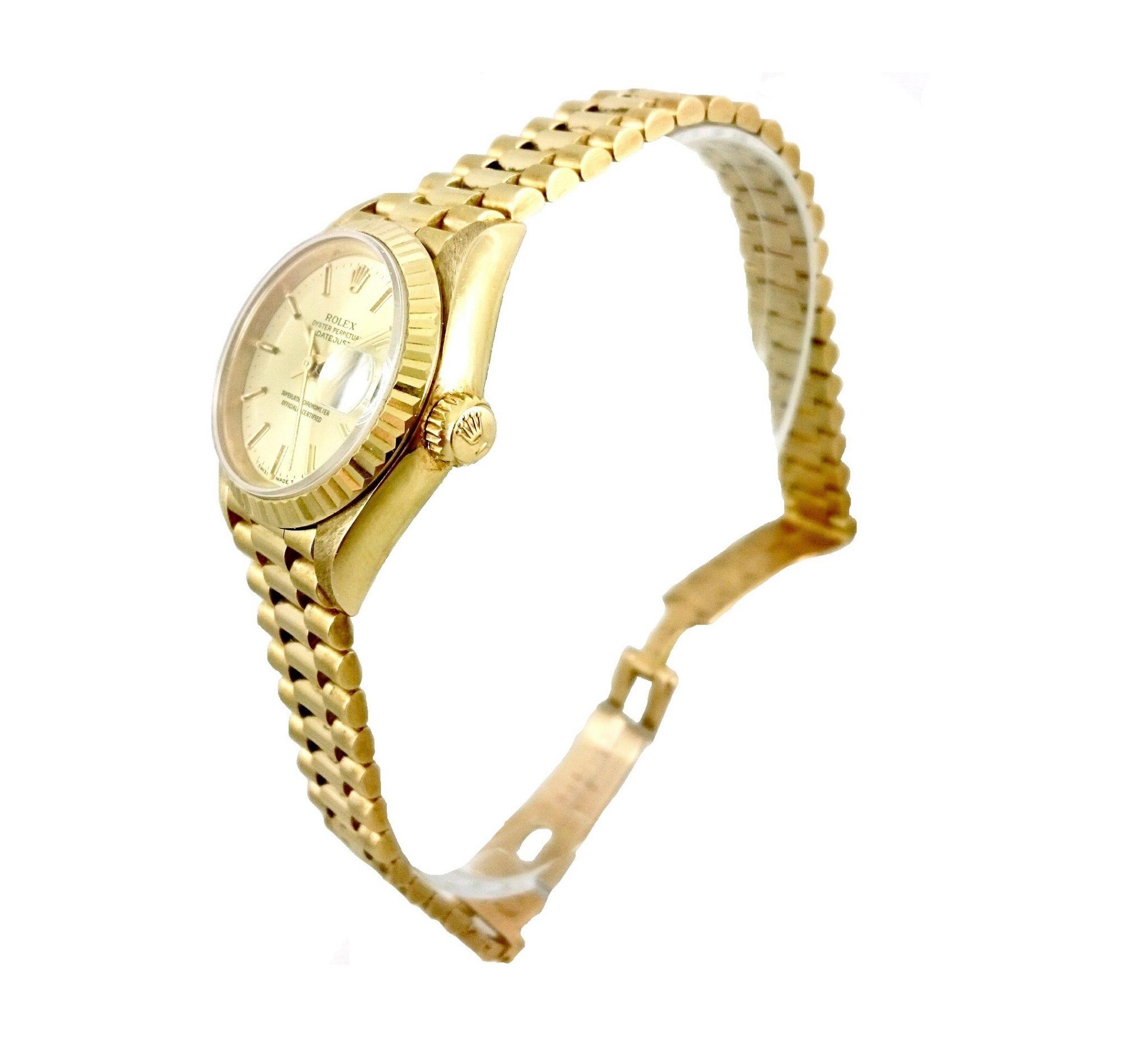 Molto Orologio Rolex Datejust Donna In Oro 18kt Con Scatola Originale MH15