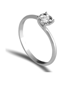 Anello in Oro Bianco con Diamante