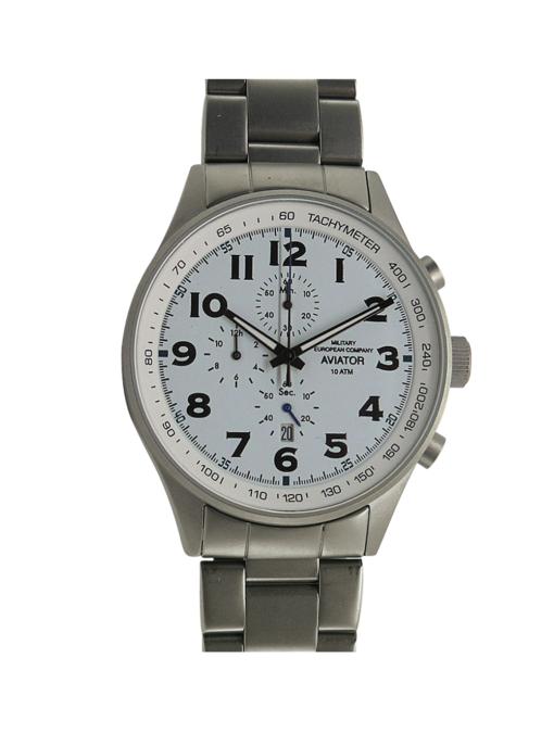 Orologio Cronografo Acciaio Al Quarzo Aviator